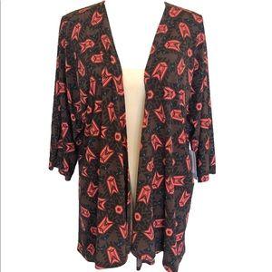 lularoe lindsay brown, black, coral kimono NWT